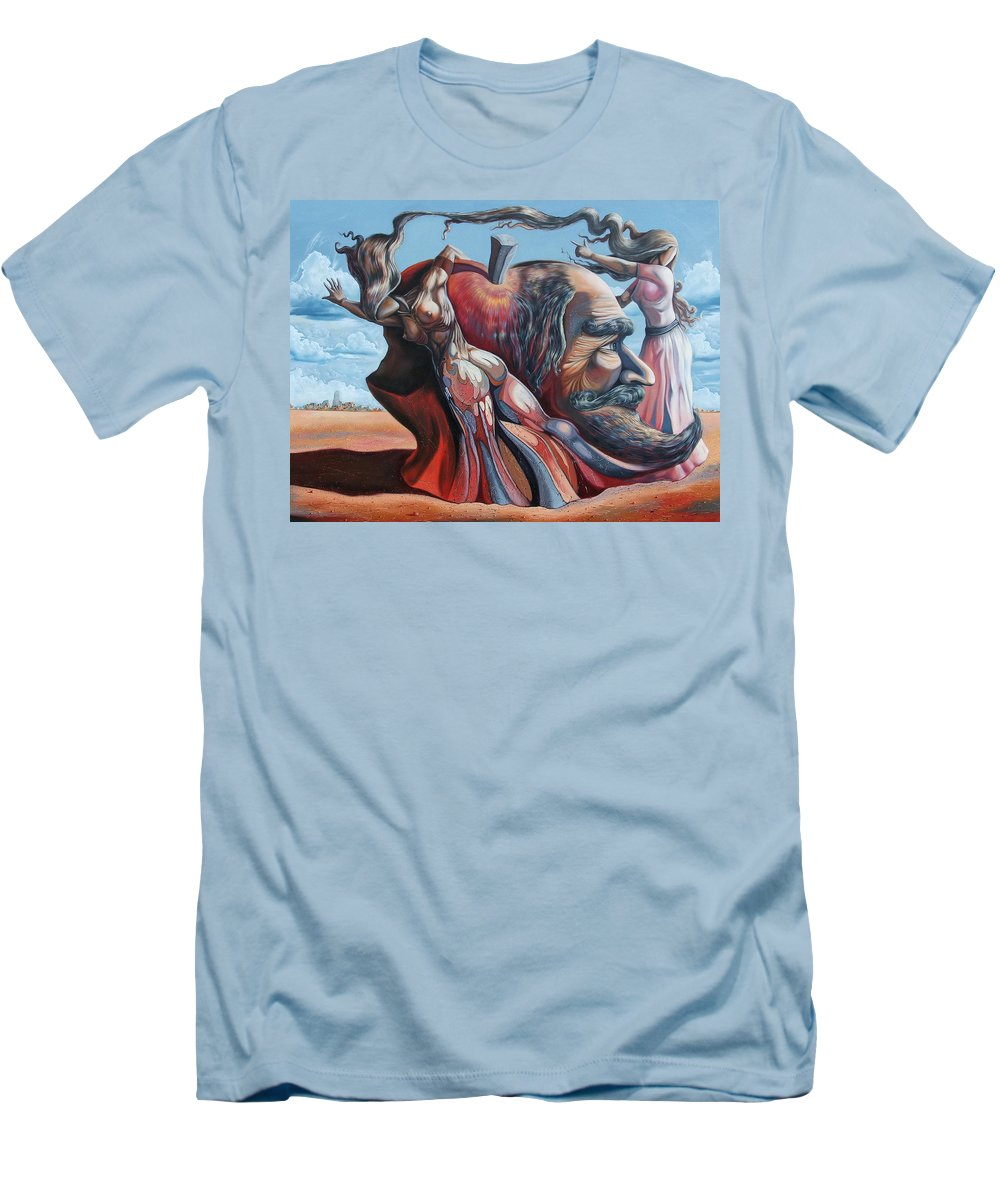 Surrealism Men's T-Shirt (Athletic Fit) featuring the painting The Adam-eve Delusion by Darwin Leon