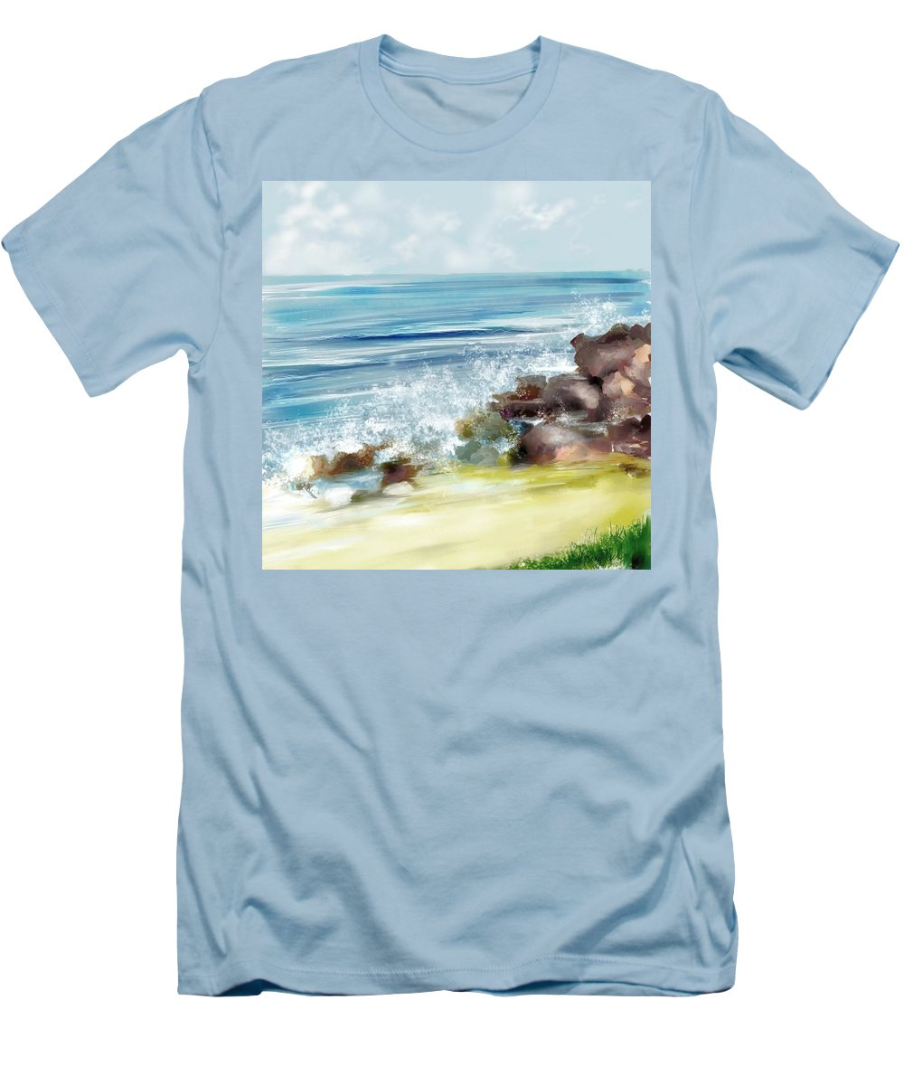 Beach Ocean Water Summer Waves Splash Men's T-Shirt (Athletic Fit) featuring the digital art The Beach by Veronica Jackson