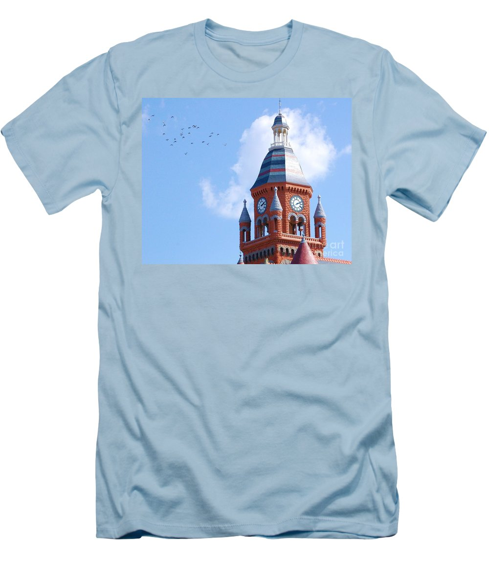 Clock Men's T-Shirt (Athletic Fit) featuring the photograph The Birds by Debbi Granruth