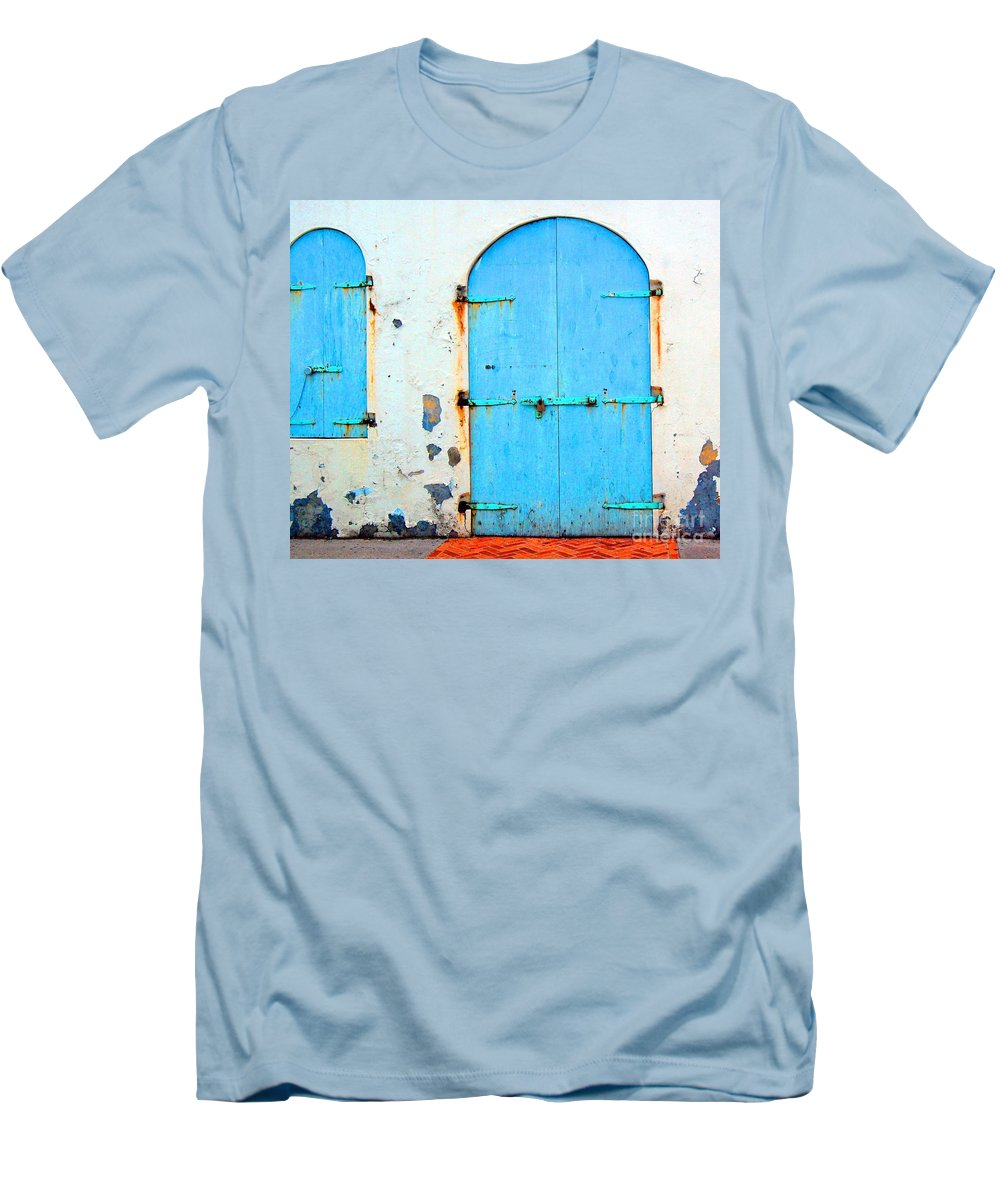 Door Men's T-Shirt (Athletic Fit) featuring the photograph The Blue Door Shutters by Debbi Granruth