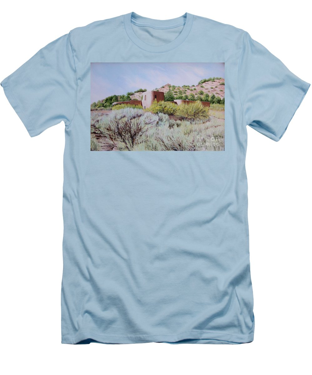 Usa Men's T-Shirt (Athletic Fit) featuring the painting The Dixon House by Mary Rogers
