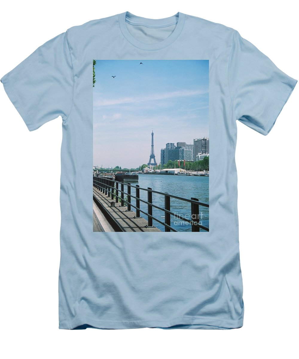 The Eiffel Tower Men's T-Shirt (Athletic Fit) featuring the photograph The Eiffel Tower And The Seine River by Nadine Rippelmeyer