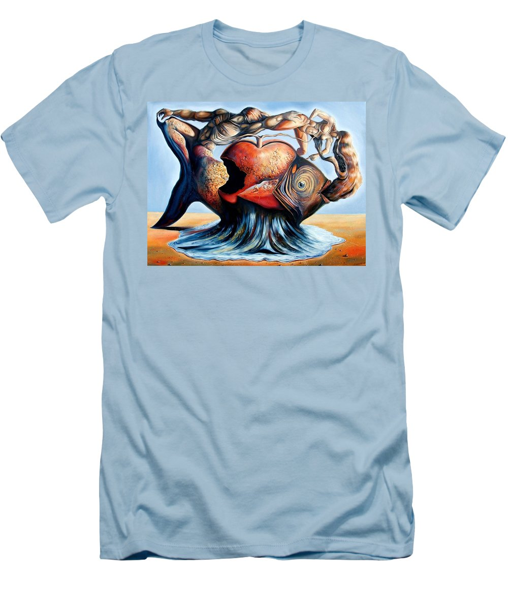 Surrealism Men's T-Shirt (Athletic Fit) featuring the painting The Eternal Question Of Time by Darwin Leon