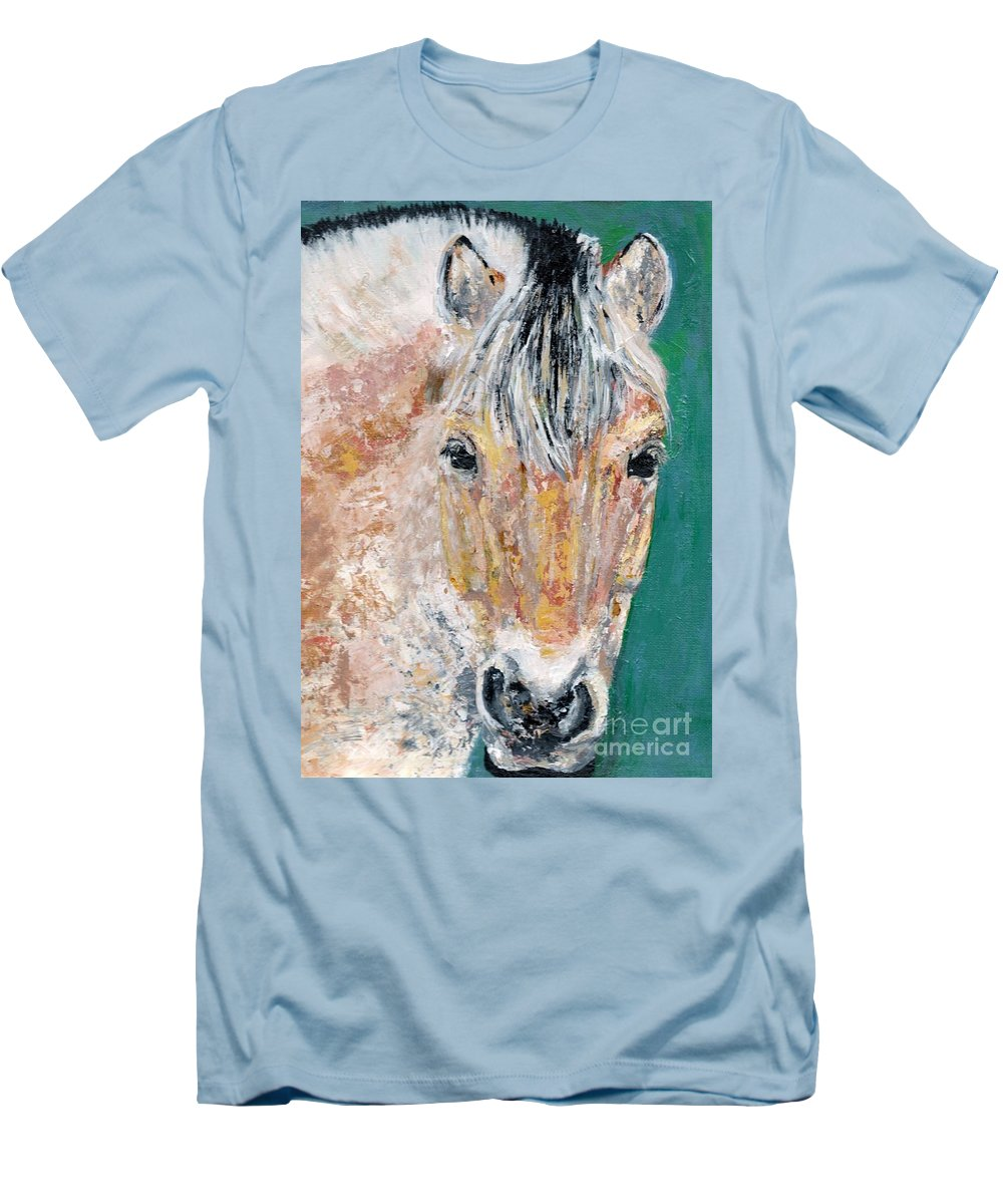 Fijord Horse Men's T-Shirt (Athletic Fit) featuring the painting The Fijord by Frances Marino
