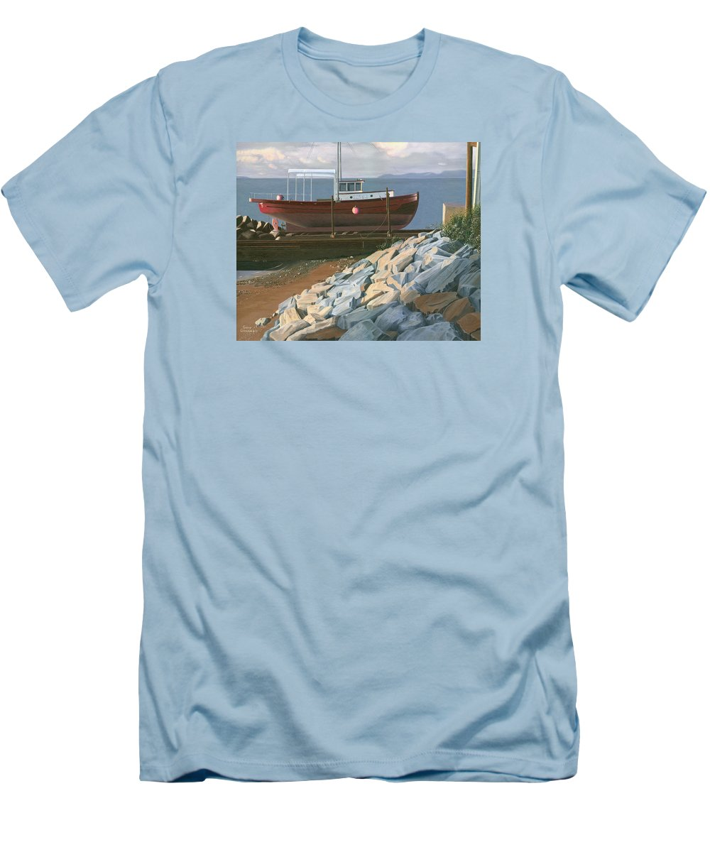 Ship Men's T-Shirt (Athletic Fit) featuring the painting The Red Troller Revisited by Gary Giacomelli