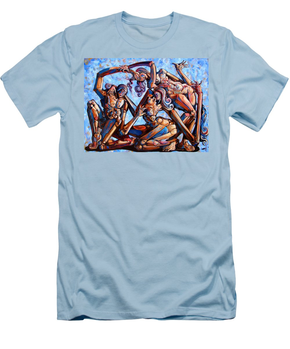 Surrealism Men's T-Shirt (Athletic Fit) featuring the painting The Seduction Of The Muses by Darwin Leon