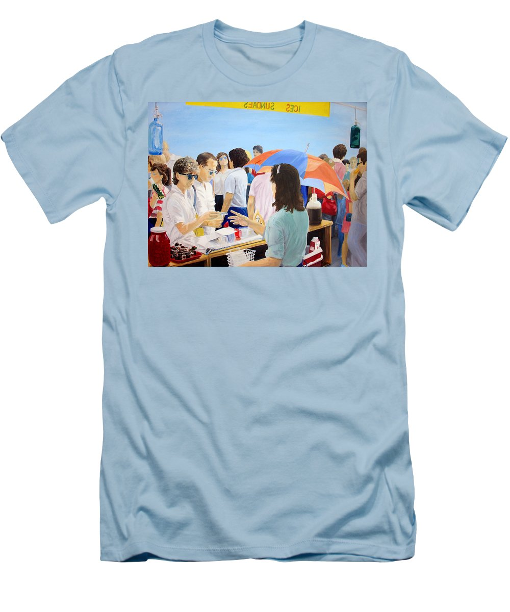 People Men's T-Shirt (Athletic Fit) featuring the painting The Vendor by Steve Karol
