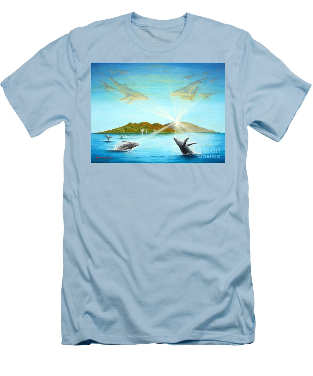 Whales Men's T-Shirt (Athletic Fit) featuring the painting The Whales Of Maui by Jerome Stumphauzer