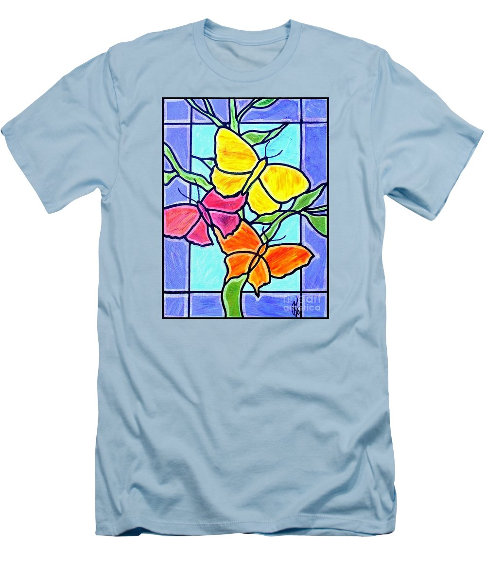 Butterflies Men's T-Shirt (Athletic Fit) featuring the painting Three Butterflies by Jim Harris