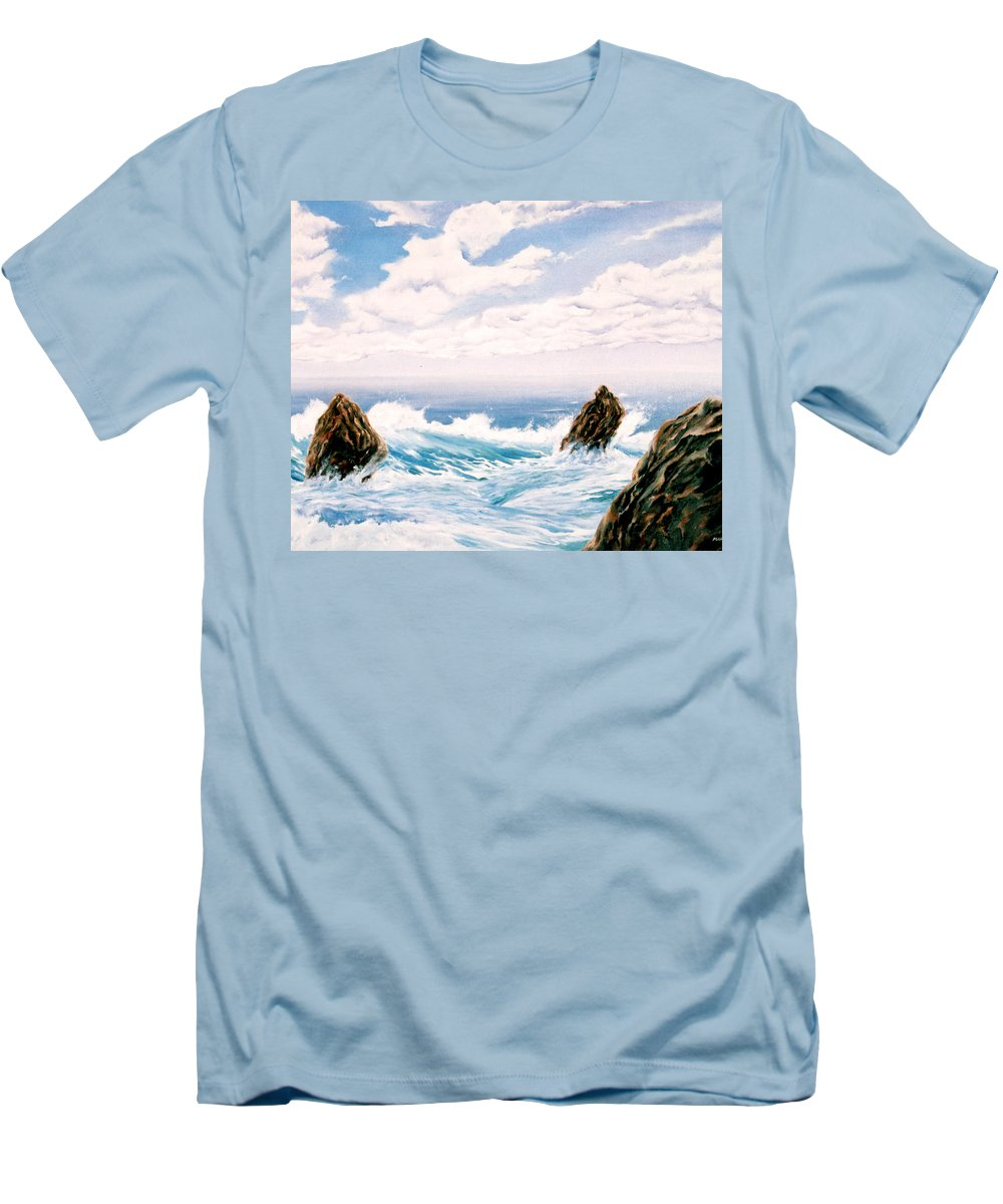 Seascape Men's T-Shirt (Athletic Fit) featuring the painting Three Rocks by Mark Cawood