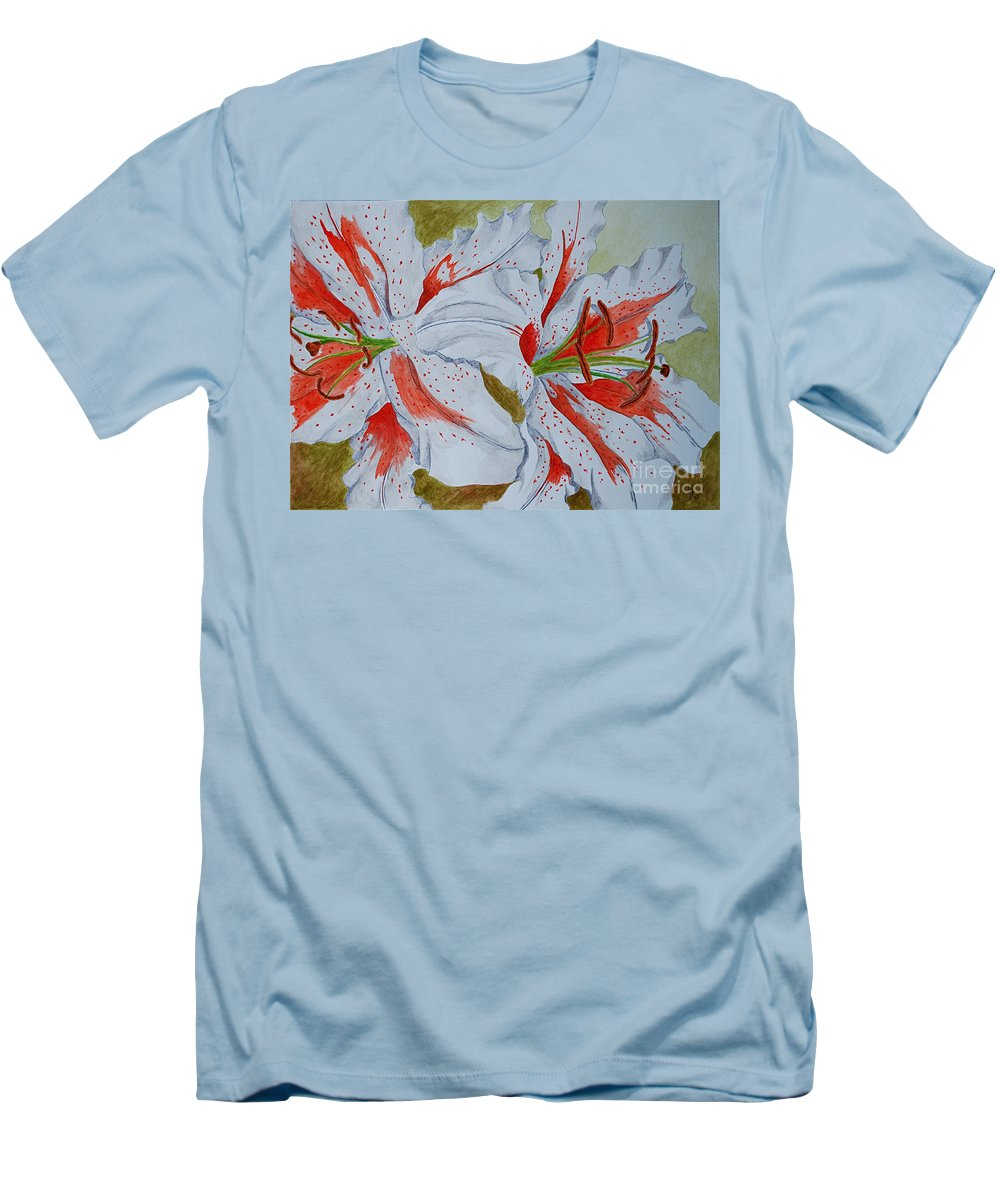 Lilly Red Lilly Tiger Lilly Men's T-Shirt (Athletic Fit) featuring the painting Tiger Lilly by Herschel Fall