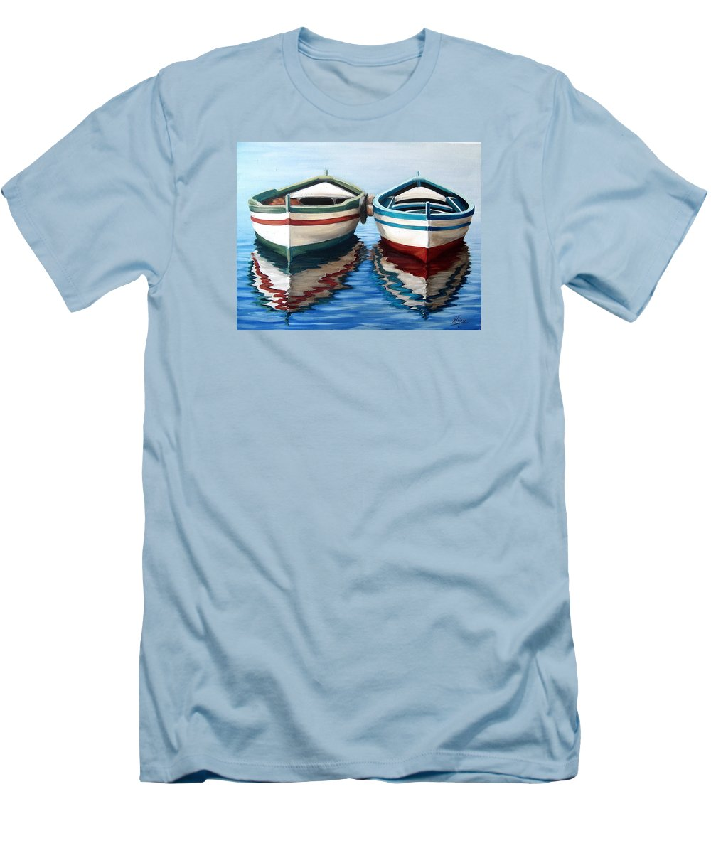 Seascape Sea Boat Reflection Water Ocean Men's T-Shirt (Athletic Fit) featuring the painting Together by Natalia Tejera