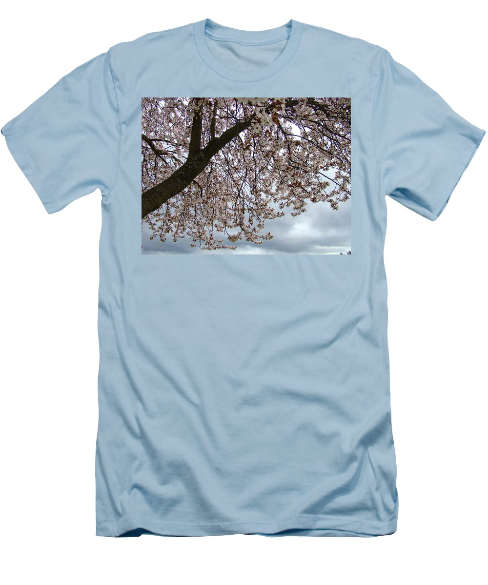 �blossoms Artwork� Men's T-Shirt (Athletic Fit) featuring the photograph Tree Blossoms Landscape 11 Spring Blossoms Art Prints Giclee Sky Storm Clouds by Baslee Troutman
