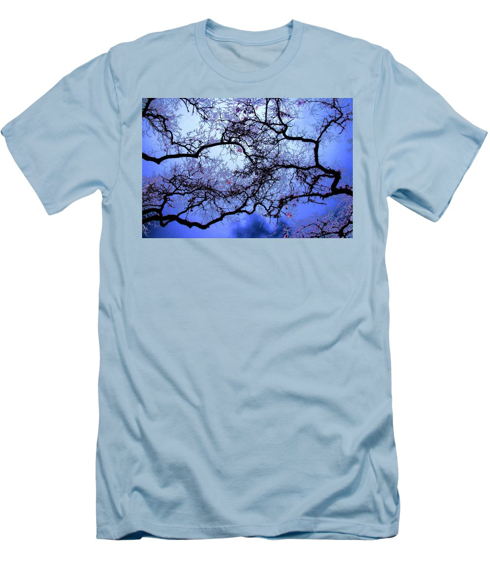 Scenic Men's T-Shirt (Athletic Fit) featuring the photograph Tree Fantasy In Blue by Lee Santa