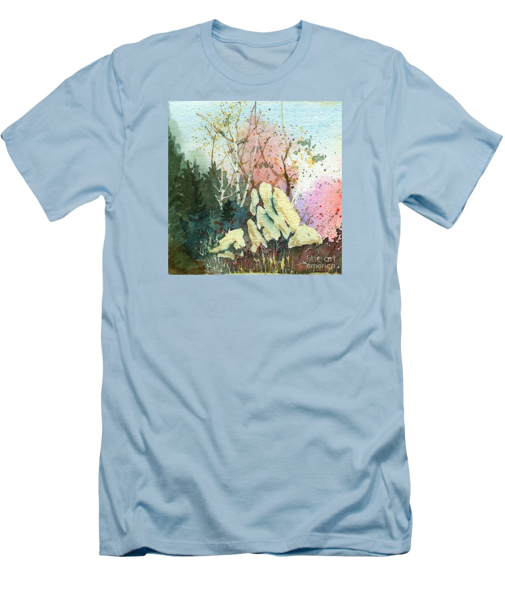 Landscape Men's T-Shirt (Athletic Fit) featuring the painting Triptych Panel 1 by Lynn Quinn