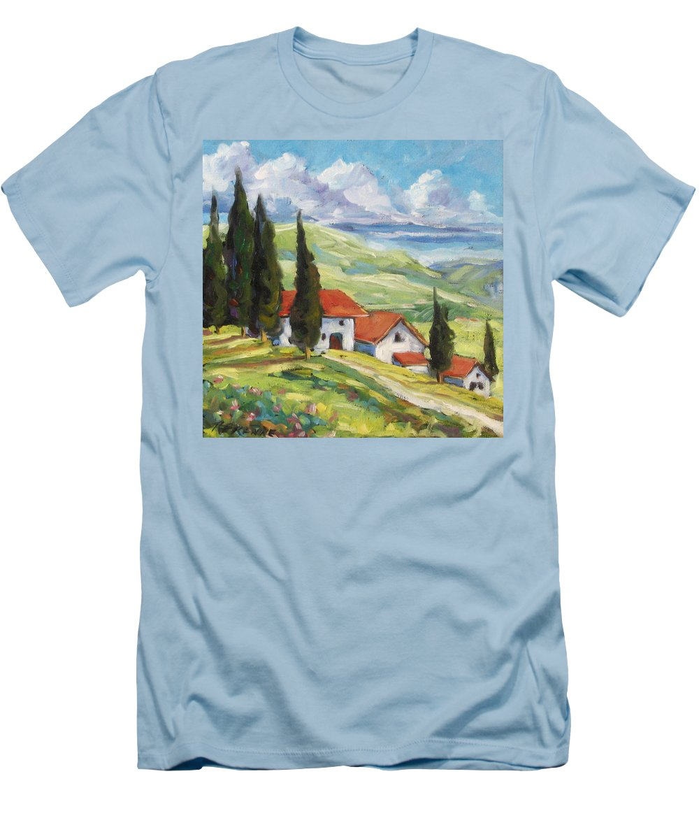 Tuscan Men's T-Shirt (Athletic Fit) featuring the painting Tuscan Villas by Richard T Pranke