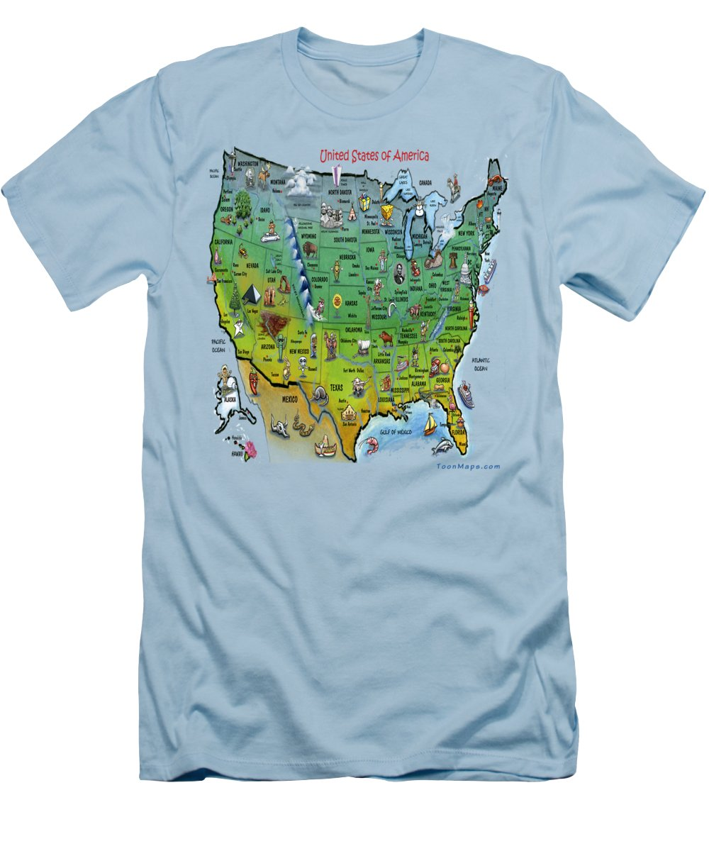 Map Men's T-Shirt (Athletic Fit) featuring the painting Usa Cartoon Map by Kevin Middleton
