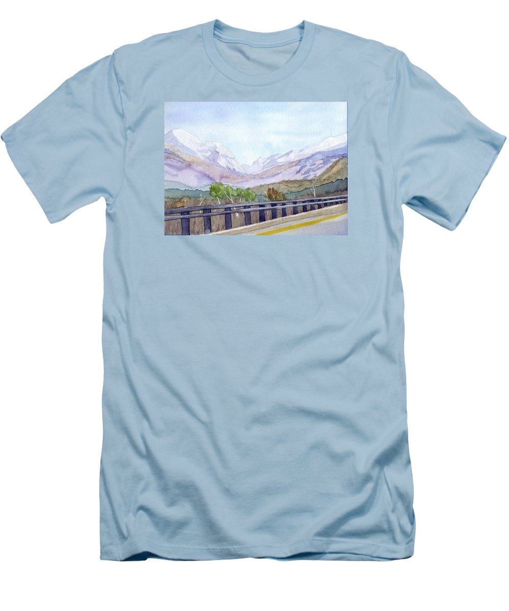 Franconia Notch Men's T-Shirt (Athletic Fit) featuring the painting View Of Franconia Notch by Sharon E Allen