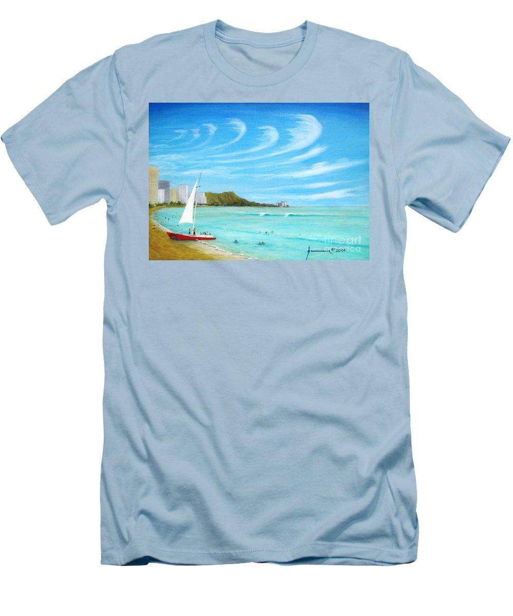 Waikiki Men's T-Shirt (Athletic Fit) featuring the painting Waikiki by Jerome Stumphauzer