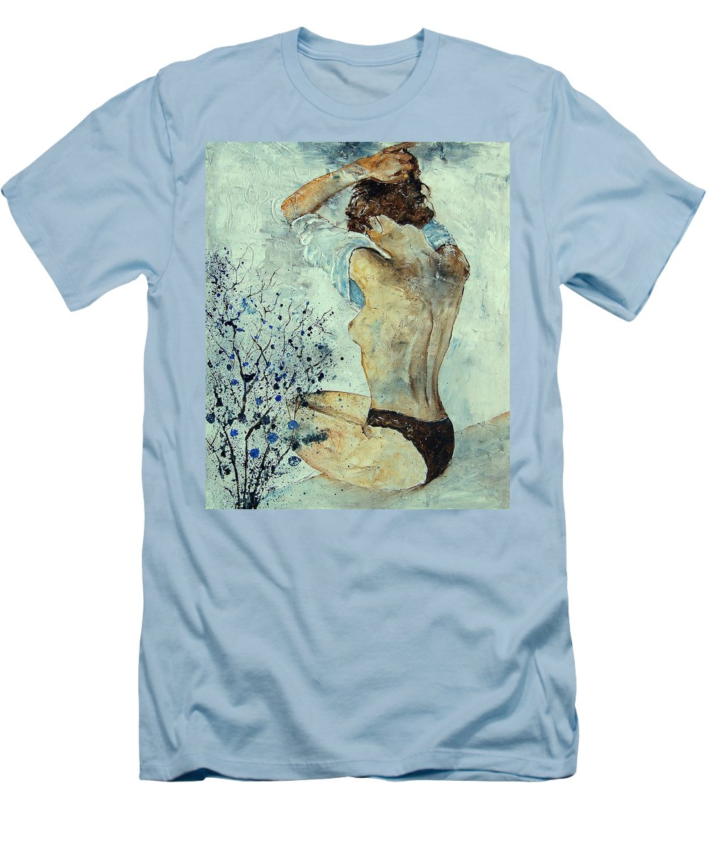 Nude Men's T-Shirt (Athletic Fit) featuring the painting Waking Up by Pol Ledent
