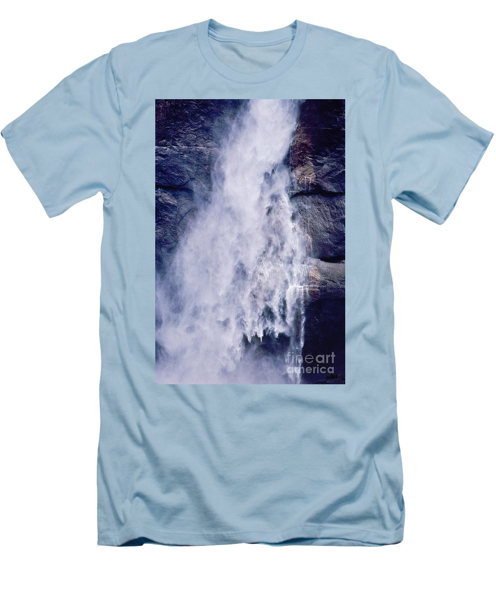 Waterfall Men's T-Shirt (Athletic Fit) featuring the photograph Water Drops by Kathy McClure