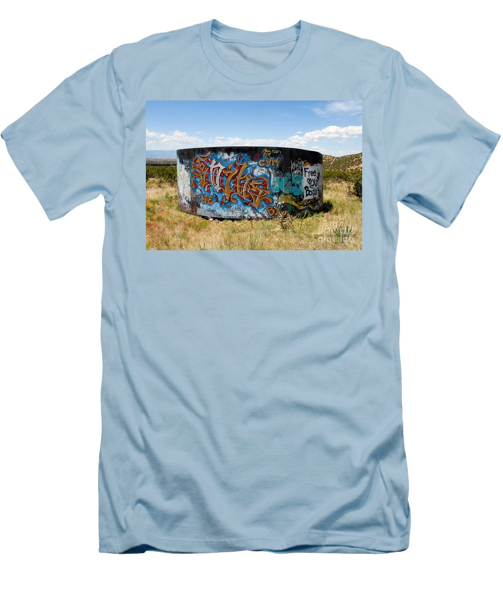 Graffiti Men's T-Shirt (Athletic Fit) featuring the photograph Water Tank Graffiti by David Lee Thompson