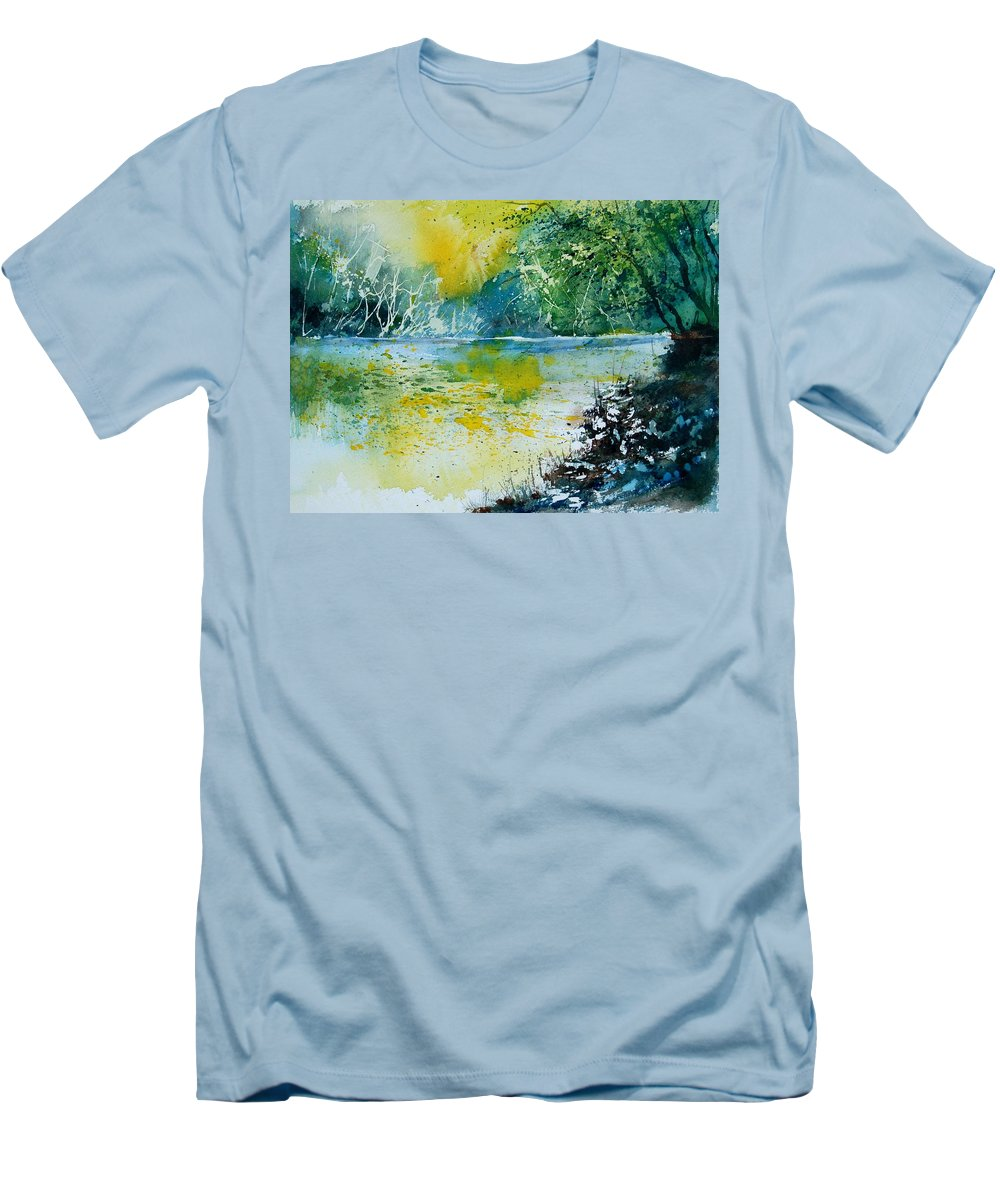 Pond Men's T-Shirt (Athletic Fit) featuring the painting Watercolor 051108 by Pol Ledent