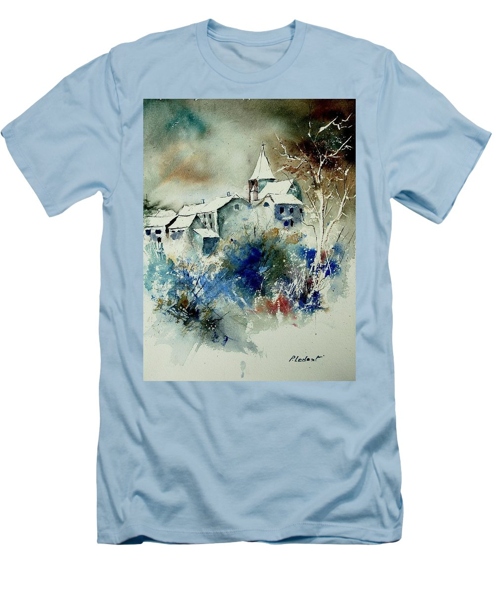 Winter Men's T-Shirt (Athletic Fit) featuring the painting Watercolor 140408 by Pol Ledent