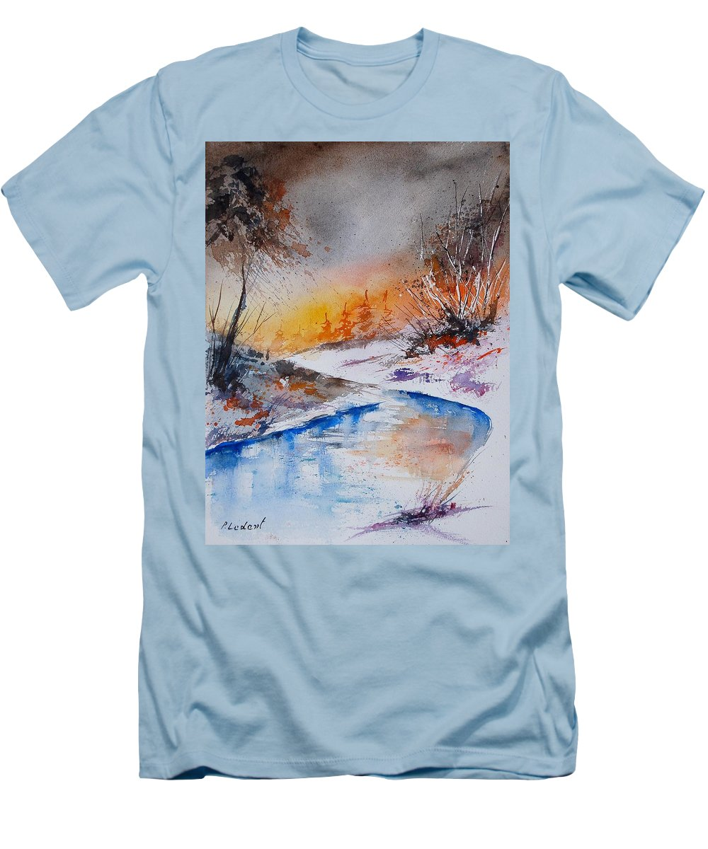 Snow Men's T-Shirt (Athletic Fit) featuring the painting Watercolor 200308 by Pol Ledent