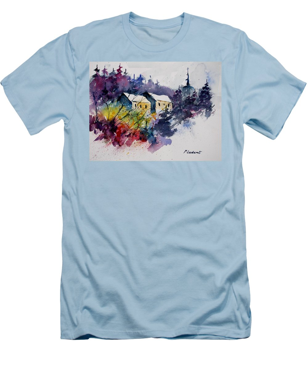 River Men's T-Shirt (Athletic Fit) featuring the painting Watercolor 231207 by Pol Ledent