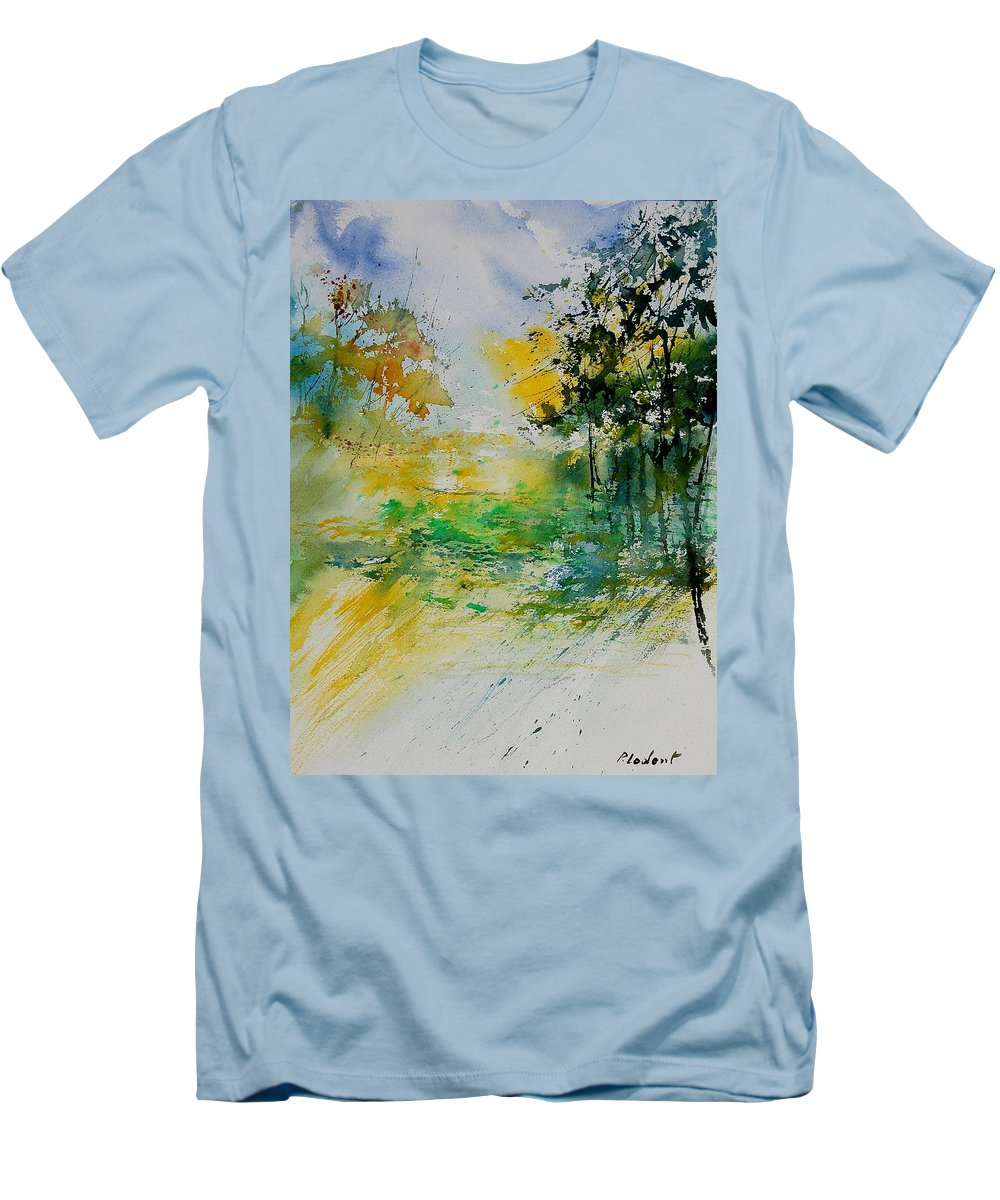Water Men's T-Shirt (Athletic Fit) featuring the painting Watercolor 908051 by Pol Ledent
