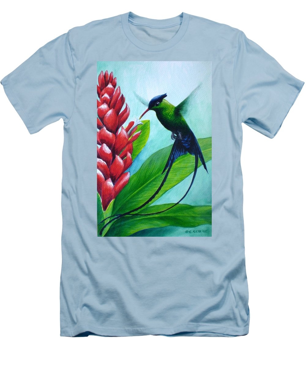 Western Streamertail Hummingbird Men's T-Shirt (Athletic Fit) featuring the painting Western Streamertail Hummingbird by Christopher Cox