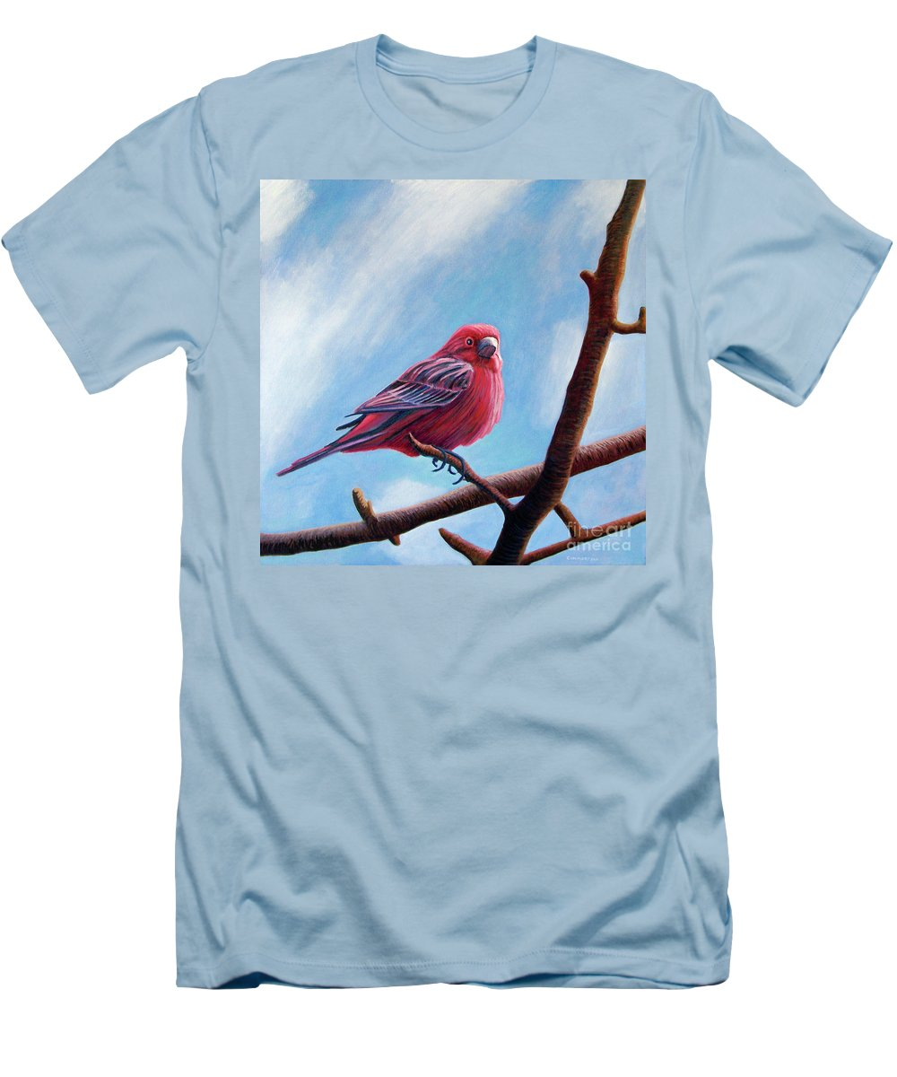 Bird Men's T-Shirt (Athletic Fit) featuring the painting Winter Finch by Brian Commerford