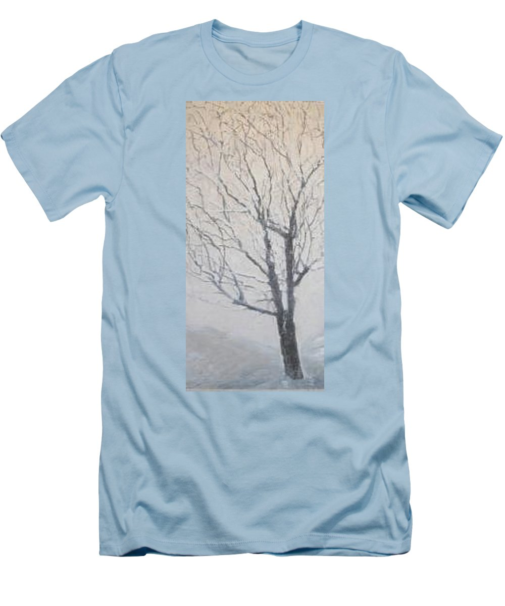 Tree Men's T-Shirt (Slim Fit) featuring the painting Winter by Leah Tomaino