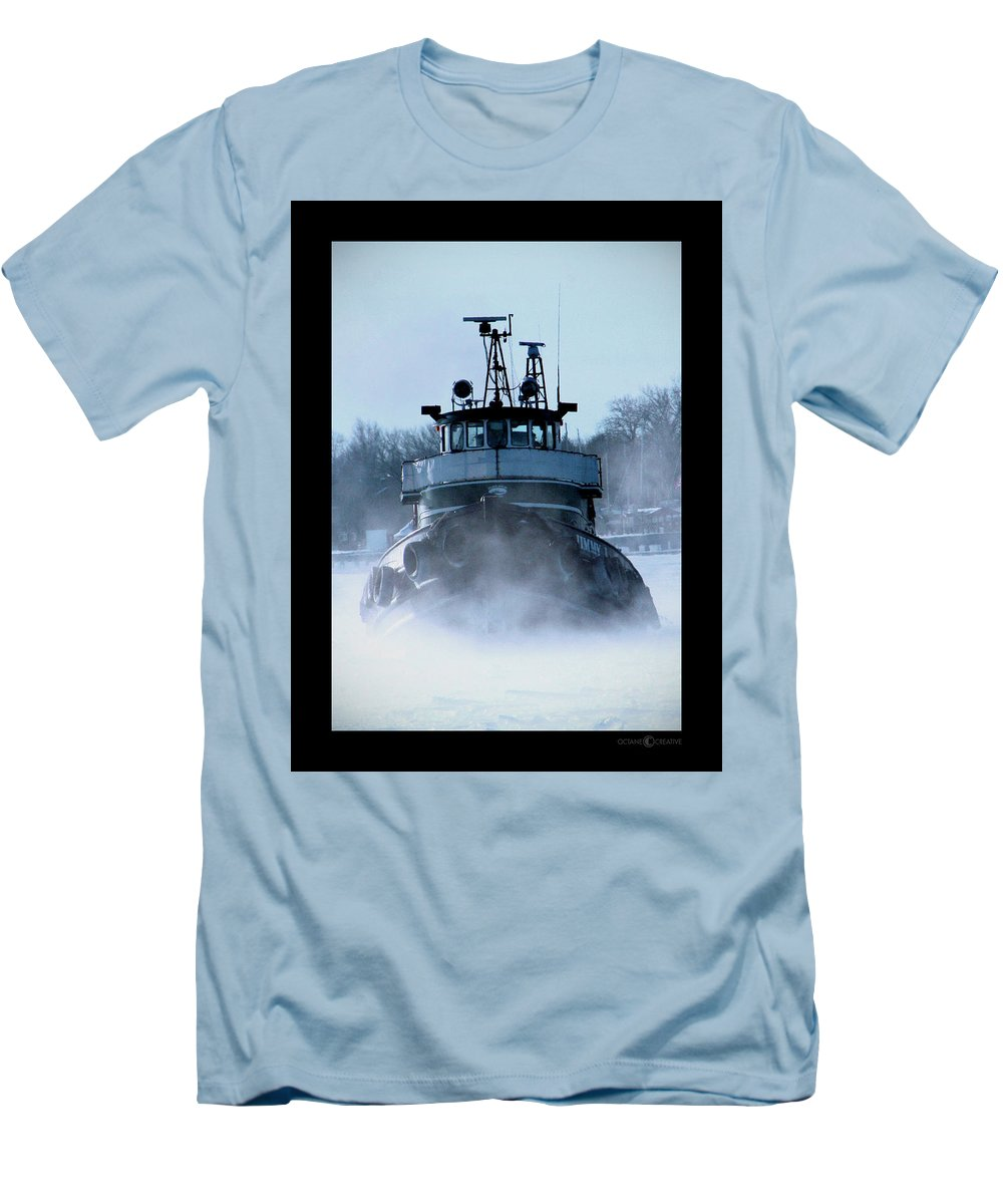 Tug Men's T-Shirt (Athletic Fit) featuring the photograph Winter Tug by Tim Nyberg
