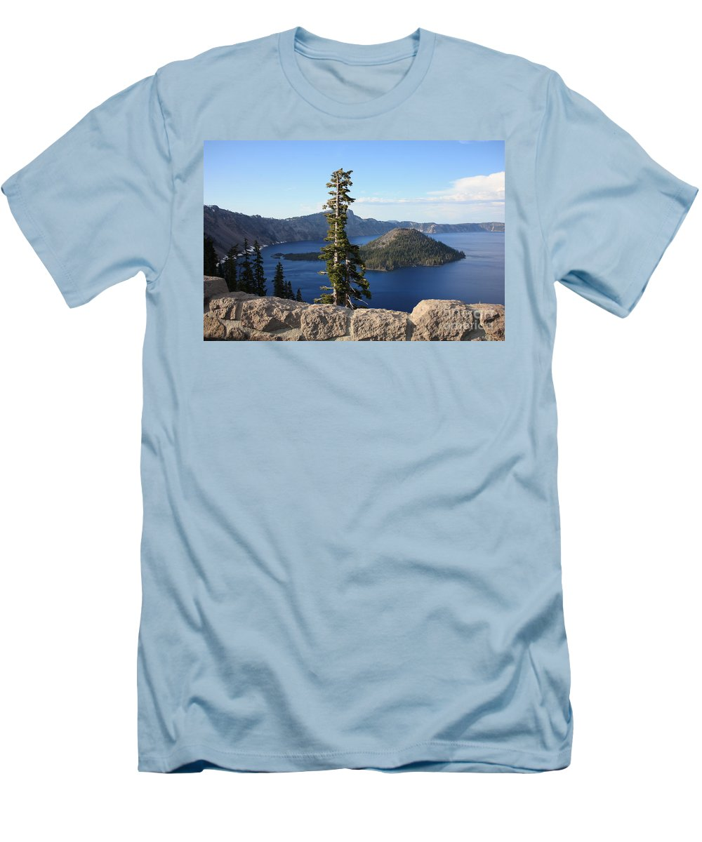 Wizard Island Men's T-Shirt (Athletic Fit) featuring the photograph Wizard Island With Rock Fence At Crater Lake by Carol Groenen