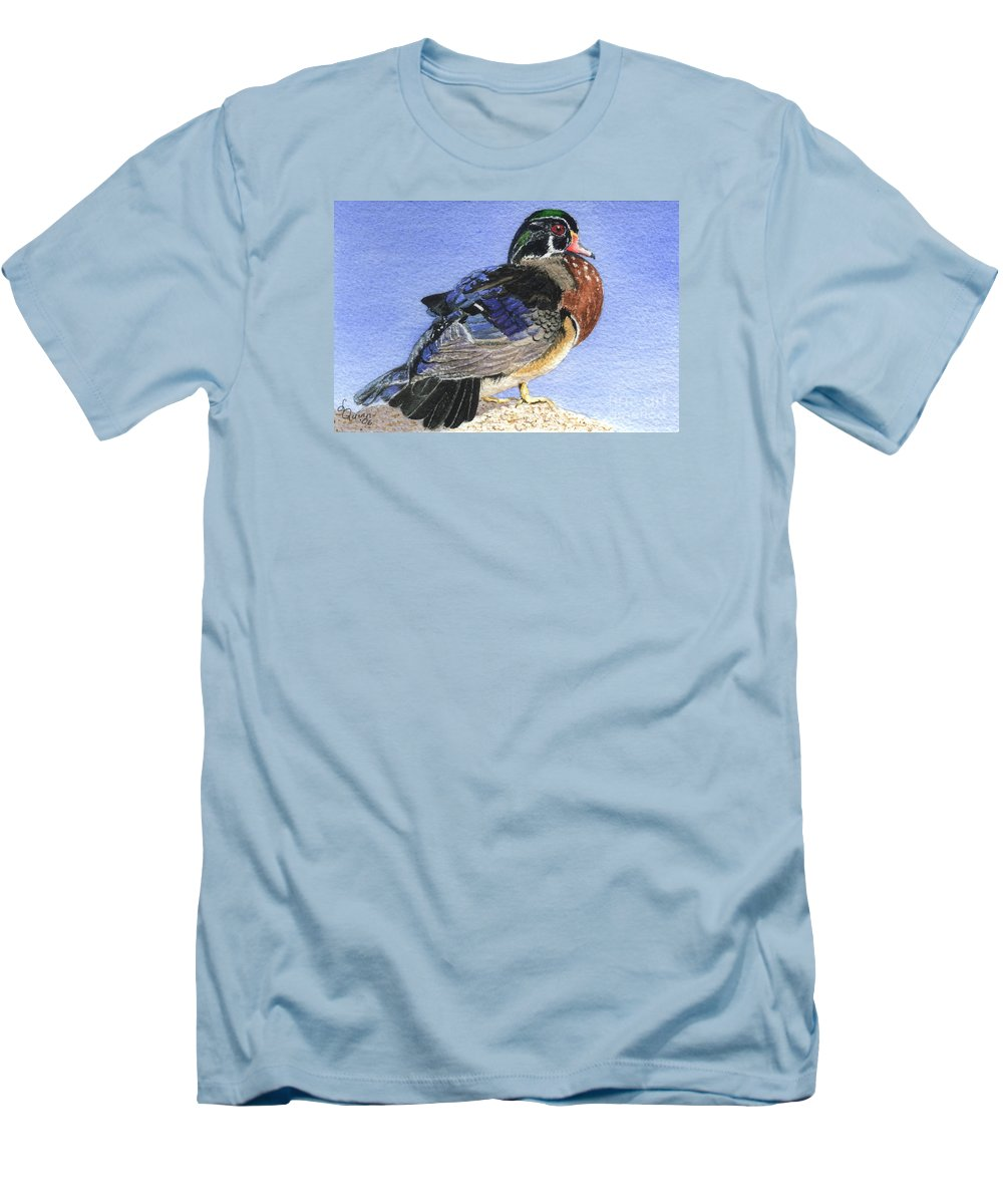 Duck Men's T-Shirt (Athletic Fit) featuring the painting Wood Duck by Lynn Quinn