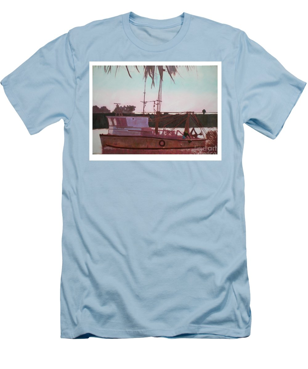 Seascape Men's T-Shirt (Athletic Fit) featuring the digital art Yankee Town Fishing Boat by Hal Newhouser