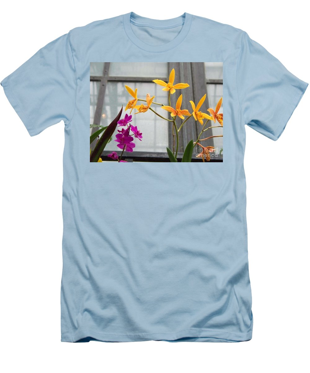 Yellow Men's T-Shirt (Athletic Fit) featuring the painting Yellow Orange And Purple Flowers by Eric Schiabor