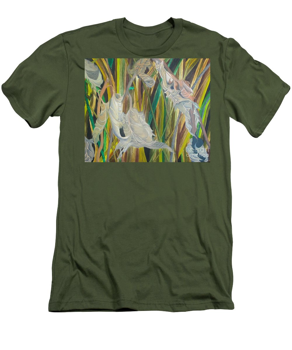 Men's T-Shirt (Athletic Fit) featuring the painting Fall Leafs Won by Richard Dotson