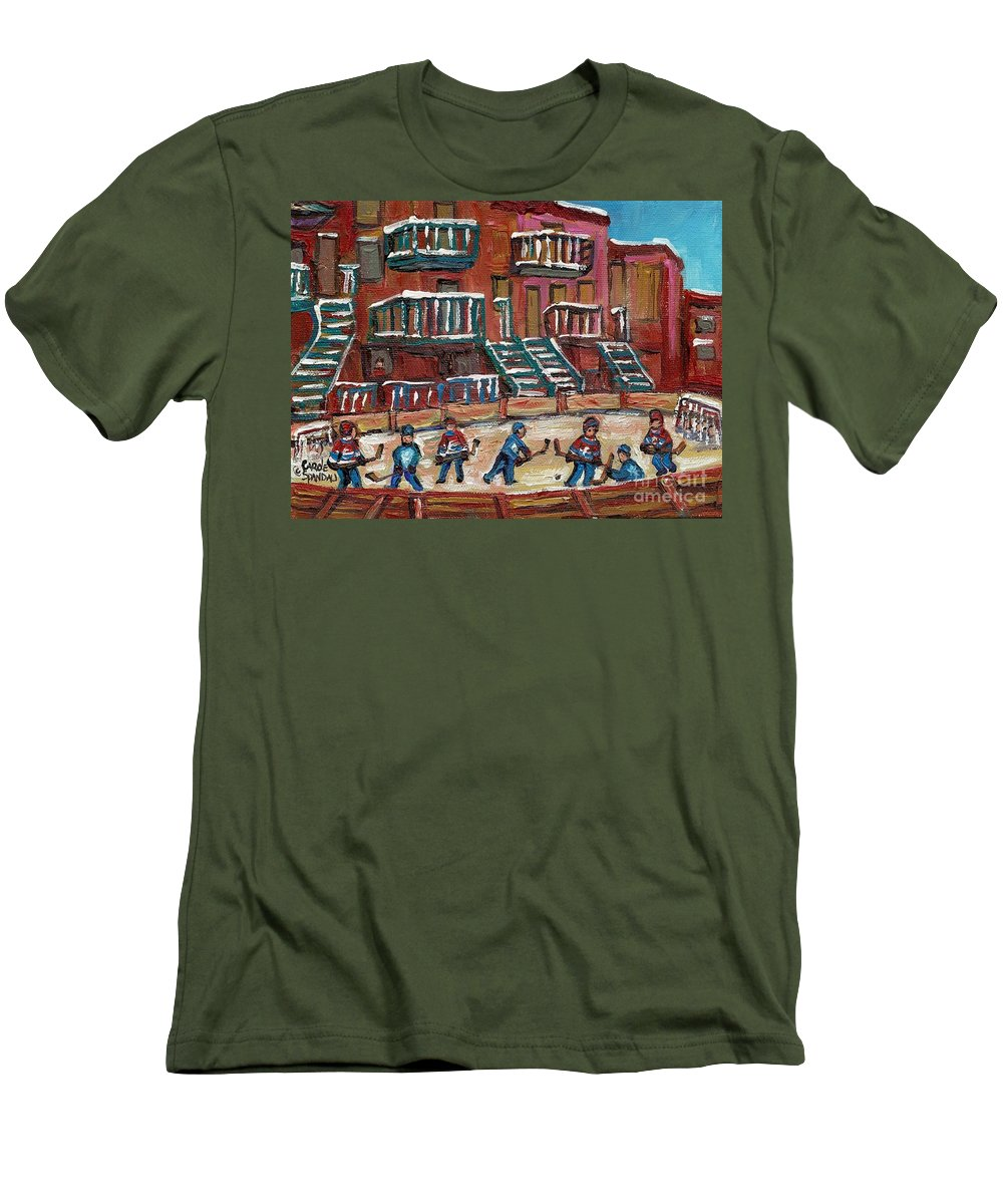Hockey Men's T-Shirt (Athletic Fit) featuring the painting Gorgeous Day For A Game by Carole Spandau