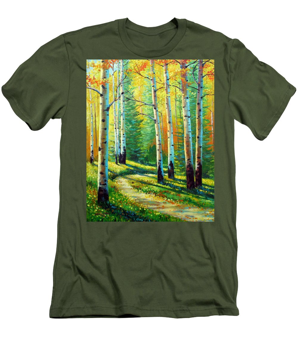 Landscape Men's T-Shirt (Athletic Fit) featuring the painting Colors Of The Season by David G Paul