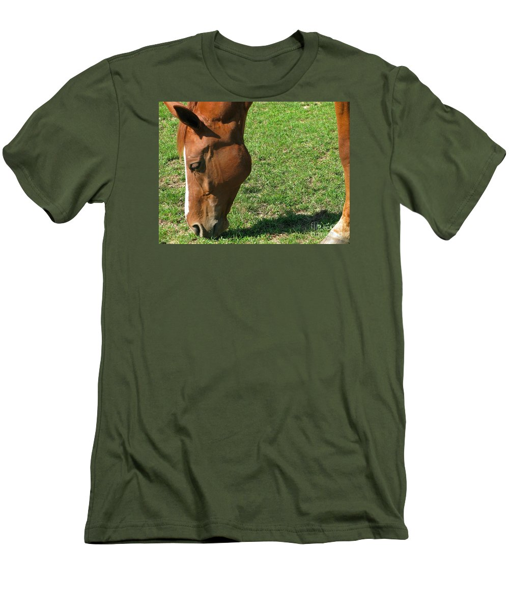 Horse Men's T-Shirt (Athletic Fit) featuring the photograph In Green Pasture by Ann Horn