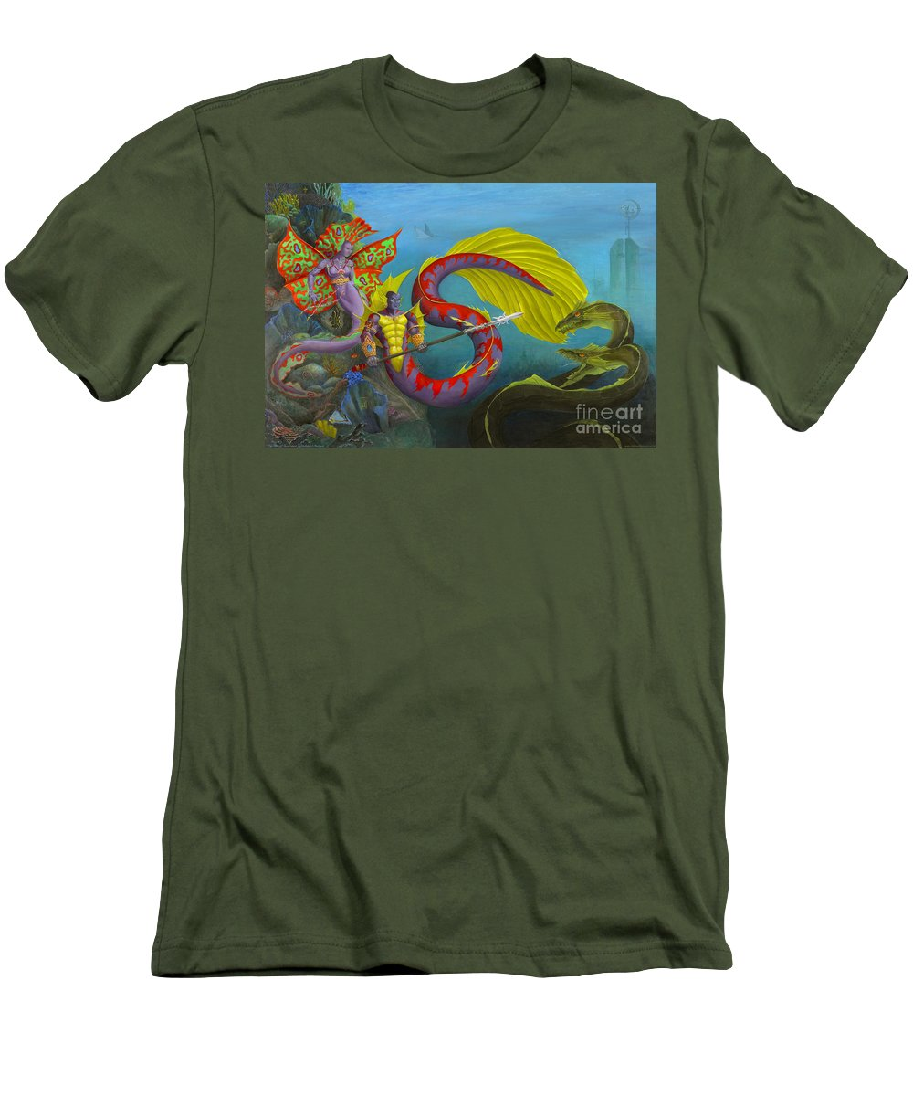 Mermaid Men's T-Shirt (Athletic Fit) featuring the painting The Threat by Melissa A Benson