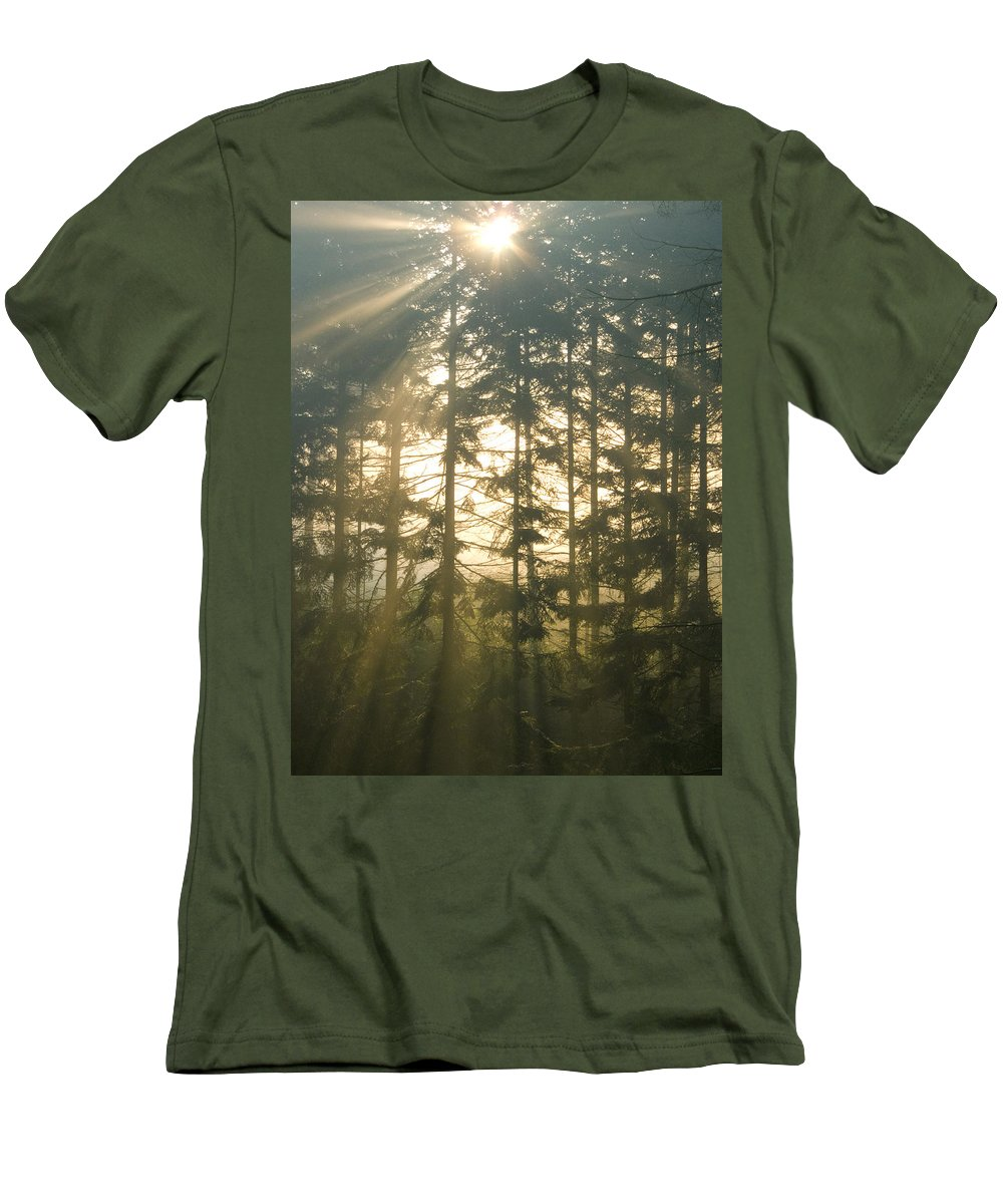 Nature Men's T-Shirt (Athletic Fit) featuring the photograph Light In The Forest by Daniel Csoka