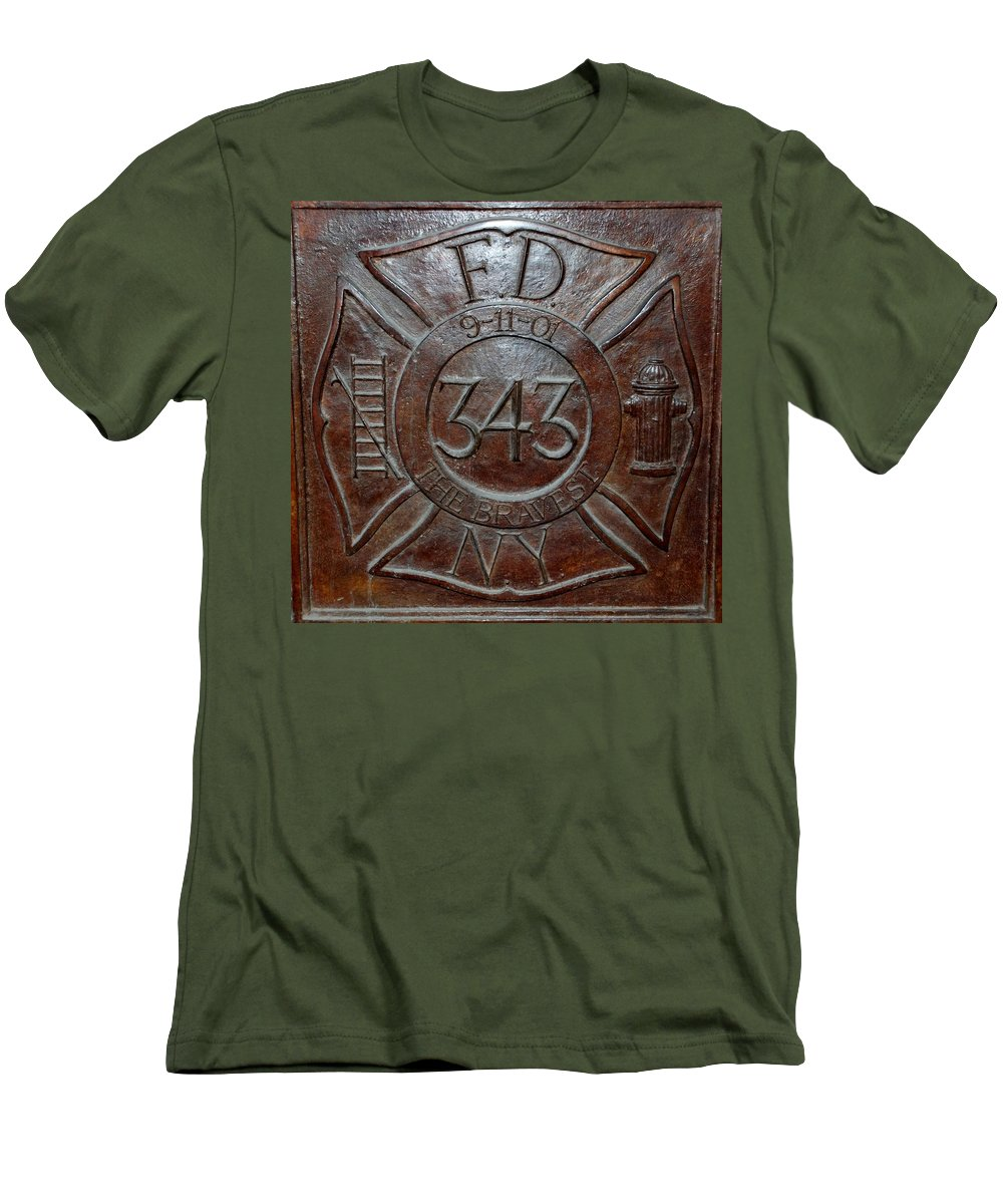 Fdny Men's T-Shirt (Athletic Fit) featuring the photograph 9 11 01 F D N Y 343 by Rob Hans