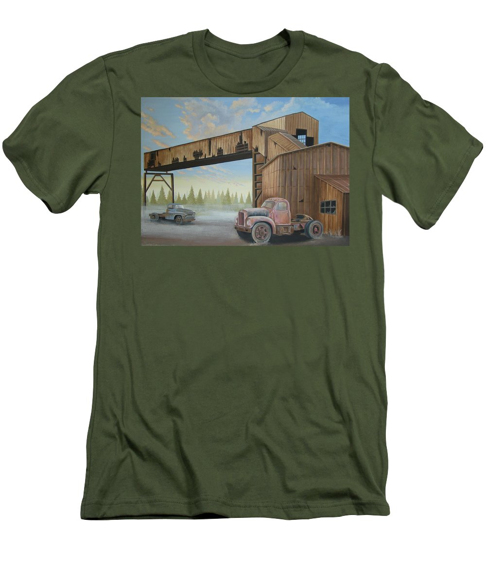 Old Truck Men's T-Shirt (Athletic Fit) featuring the painting Abandoned Mine by Stuart Swartz