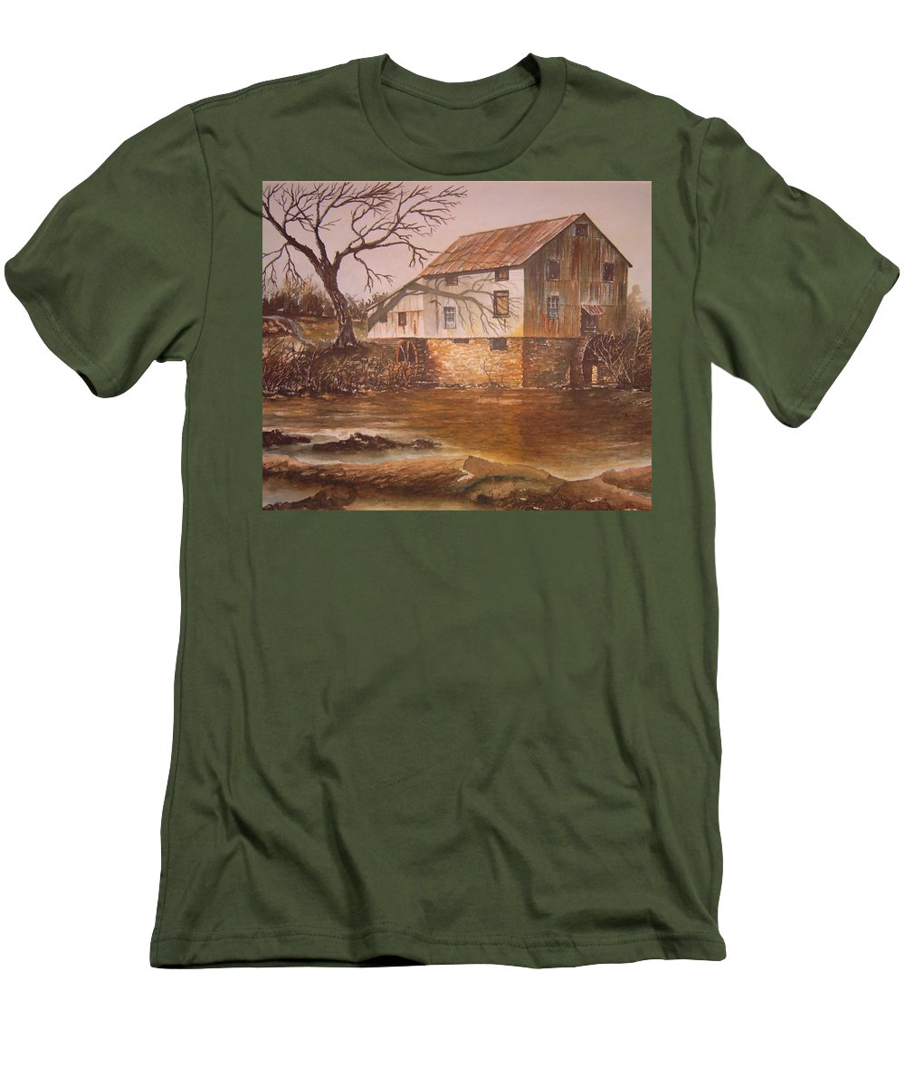 Landscape Men's T-Shirt (Athletic Fit) featuring the painting Anderson Mill by Ben Kiger