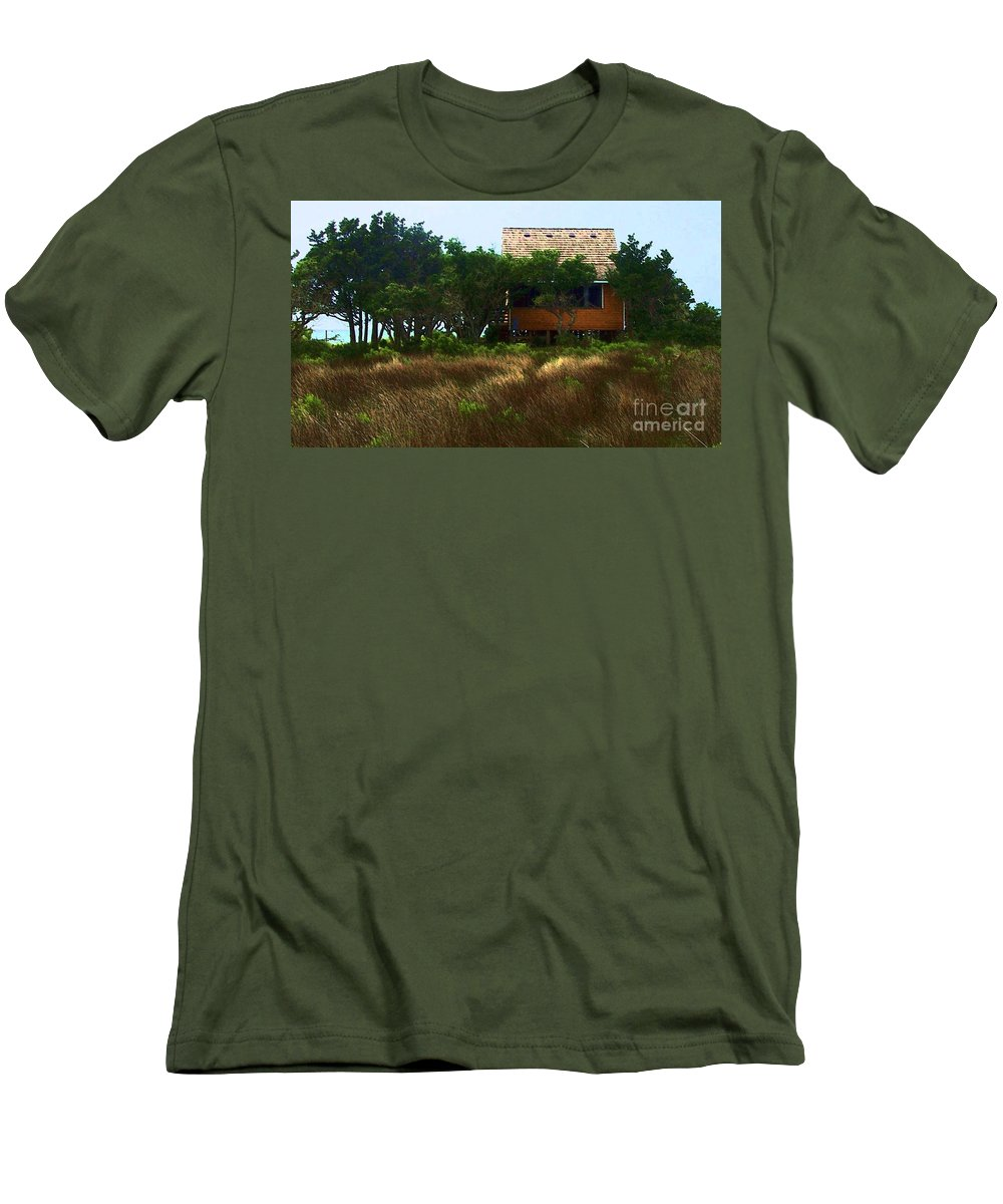 Beach Men's T-Shirt (Athletic Fit) featuring the photograph Back To The Island by Debbi Granruth