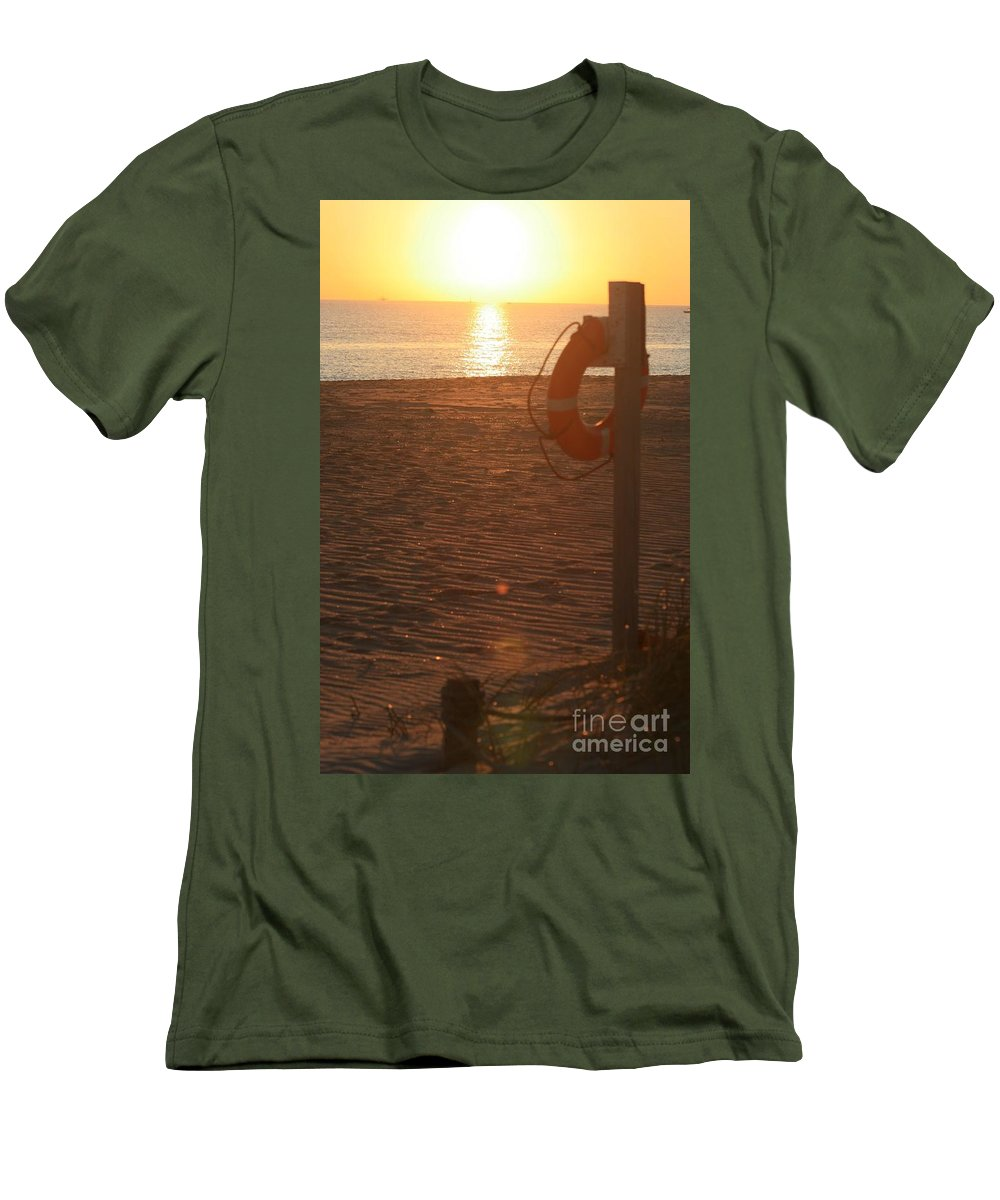 Beach Men's T-Shirt (Athletic Fit) featuring the photograph Beach At Sunset by Nadine Rippelmeyer